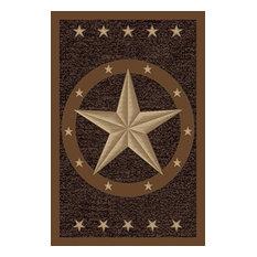 """Texas Star Western Rustic Cowboy Decor Brown Black Anti Skid Oval Rug, 4'5""""x6'9"""""""