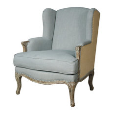 Marie Wingback Chair, Soft Blue and Burlap