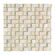 """Miseno Earth Glass Visual Wall Tile Sheet, Chip Size: 1""""x1"""", Beige"""