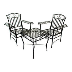 Courtyard Casual Black Steel French Quarter Outdoor 3pc Bistro Set