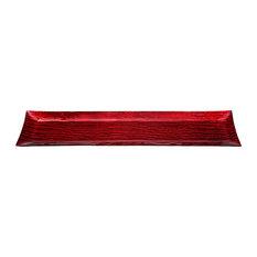 Medium Monterrey Rectangle Recycled Glass Plate, Metallic Red