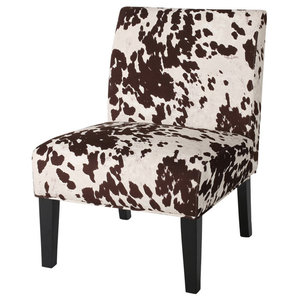 GDF Studio Kalee Cow Print Fabric Dining Chairs, Set Of 2