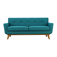 Taffy Upholstered Fabric Love Seat/Teal