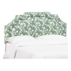 Miller Queen Notched Border Headboard In Peacock Silhouette Green