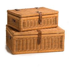 Covered Wicker Storage Basket, Toasted Oat, Small