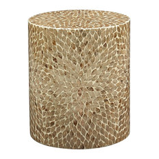 Global Archive Round Capiz Accent Table Sand