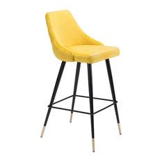 Piccolo Bar Chair, Yellow Velvet