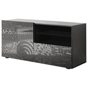Miro Decorative TV Unit, 121 cm, Grey Gloss