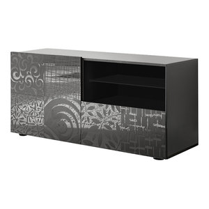 Miro Decorative TV Unit, 121 cm, Grey Gloss