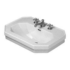 "Duravit 438600087 1930 Ceramic 23-5/8"" Bathroom Sink for Wall Mounted or Pedesta"