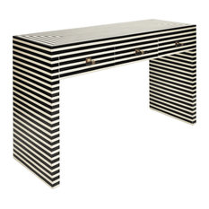 Worlds Away Sasha Black and White Bone Console