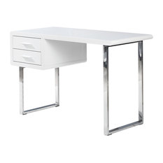 Modern White High Gloss Computer Desk With 2 Drawers