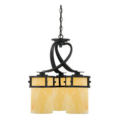 Kyle 3-Light Chandelier Imperial Bronze Butterscotch Marble