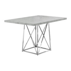 Monarch Dining Table in Gray Cement and Chrome