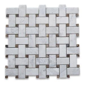 "12""x12"" Carrara White Basketweave Mosaic, Emperador Dark Dots Polished"