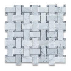 "12""x12"" Carrara White Basketweave Mosaic, Dark Gray Dots Polished"