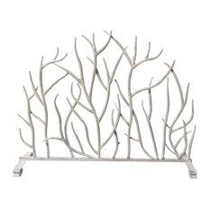 Antique White Twig Design Fire Screen