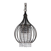 3-Light Antique Bronze Bell Shade Crystal Chandelier Pendant, Small Glam