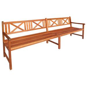 vidaXL Garden Bench, Solid Acacia Wood, Brown, 240x56x90 cm