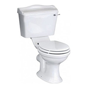 Traditional Bathroom White Ceramic Toilet and Basin Sink with Two Tap Hole