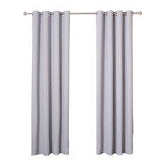 Diagonal Stripe Room Darkening Grommet Curtains, Pair, Lilac