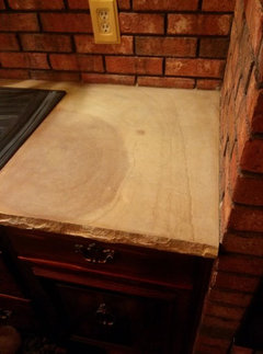 On A More Serious Note, Here Are After And Before Pictures Of 10 Year Old Limestone  Kitchen Counters:
