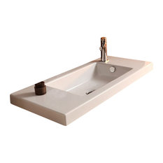 Rectangular White Ceramic Wall Mounted, or Built-In Sink, One Hole