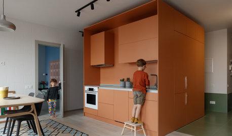 Houzz тур: Квартира с карамельным кубом и «бетонной» панелью ПО-2