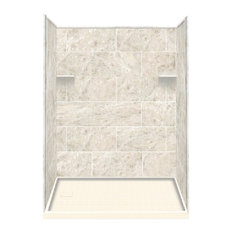"""32""""x60""""x75"""" Solid Surface Left-Hand Alcove Shower Kit, Silver Mocha"""