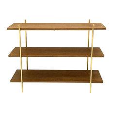 MidCentury Style Walnut and Gold Low Shelf