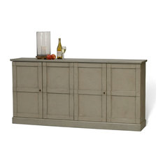 75-inch Affiano Buffet Hardwood Grey Finish 4 Door 2 Adjustable Shelves