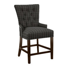 Modern Hekman Woodmark Sonya Counter Stool With Dark Nickel Nailhead Trim