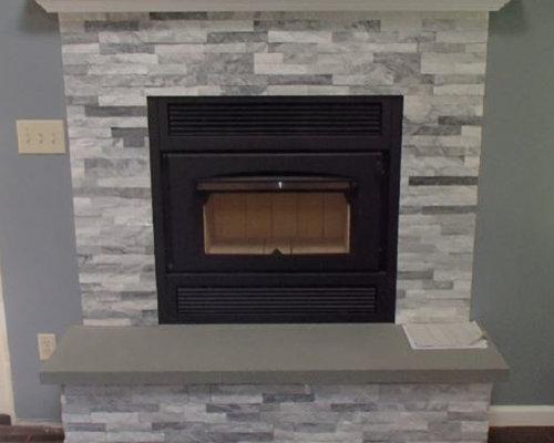 Z42 Wood Burning Fireplace with Arctic White Stacked Stone