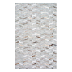 Hand Made Geometric Cowhide Patchwork Rug, Silver, 4'x6'