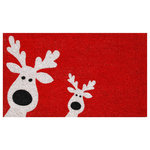 Home and More - Peeking Reindeer Doormat - Enhance your entry or patio area with a new doormat that fits your decor and personality.  Made of natural coir, a durable, dense fiber that scrapes shoes clean, this mat is vinyl backed for increased durability and to help prevent movement.  Weather tolerant and colorfast, coir doormats absorb moisture, retain their shape and will not mat down regardless of the traffic.  Vacuum, sweep or lightly hose clean.