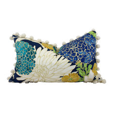 "Lumbar Cotton Pillow Cover With Flower Print and Off White PomPom Trim, 12""x20"""