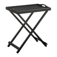 Pemberly Row Folding Tray Table in Black
