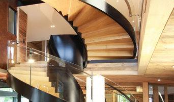 Escalier acier, bois, led