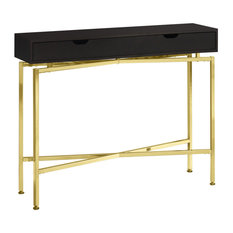 12-inchX 42.5-inchX 32.5-inch Accent Table Cappuccino Or Gold Hall Console
