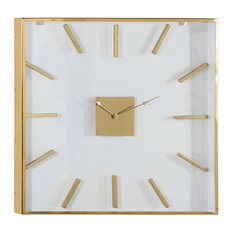 """Extra Large Square Gold Metal Wall Clock with Clear Glass Face, 30"""""""