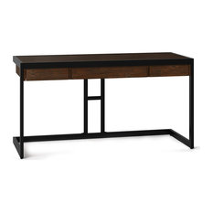 Unique Desk Acacia Wood With Flip Down Pull-out Keyboard Tray Brown