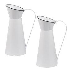 """Metal Planter Vase 8""""x6""""x13"""", Set of 2"""