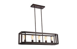 "IRONCLAD, Industrial-style 5 Light Rubbed Bronze Ceiling Pendant, 34"" Wide"