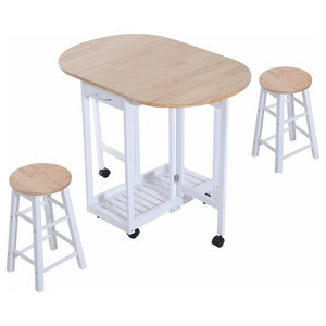 Modern 3-Piece Bar Set, Folding Table With 2-Drawer and 6-Wheel, 2-Stool