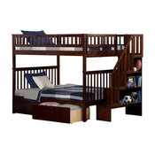Atlantic Furniture Woodland Staircase Bunk Bed, 2 Urban Bed Drawers, Full/Full
