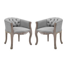 Crown Vintage French Upholstered Fabric Dining Armchair, Set of 2, Light Gray