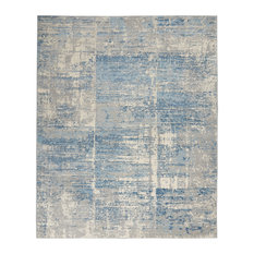 Nourison Solace Contemporary Area Rug, Ivory/Gray/Blue, 8'x 10'