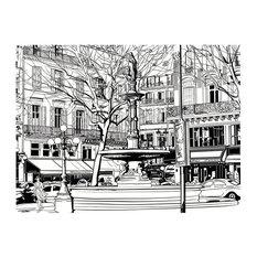 Parisian Fountain Sketch Wall Mural, 300x231 cm
