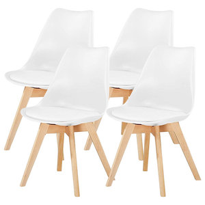 Contemporary Set of 4 Chairs, Wooden Legs and Soft Cushioned Padded Seat, White