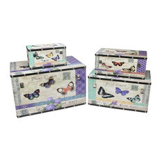 """Wooden Garden-Style Butterfly Decorative Storage Boxes, Set of 4, 14-27"""""""